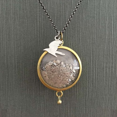 Pet Memorial Jewelry Cremation Ashes Sterling Silver and Gold with Bird Charm