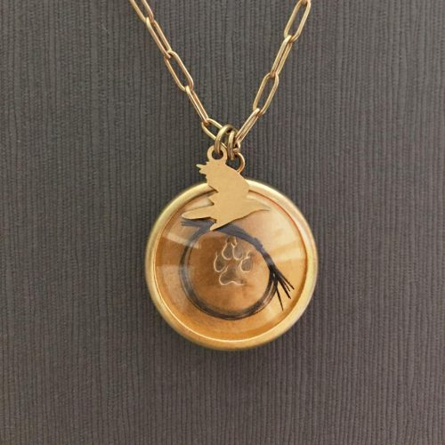 Gold Reliquary with Glass Lens and Gold Bird Charm