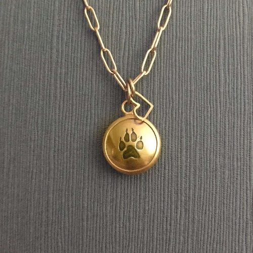 Small Gold Reliquary with Heart Charm Stamped Detail